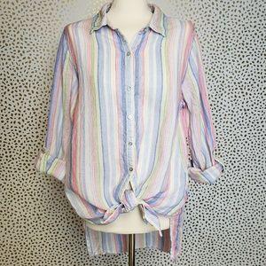 St Tropez Striped Linen Button Down
